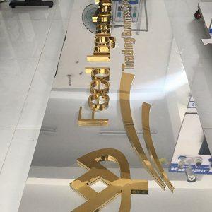 Uốn chữ nổi inox TPHCM, chữ inox uốn chân mica tại Quảng Cáo Việt