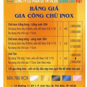 Bảng giá chữ inox