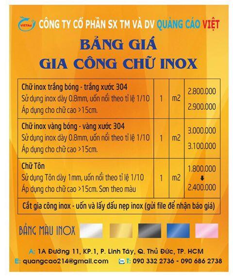 Bảng báo giá gia công chữ inox